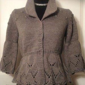 Hekla & Co Italy Heather Gray Cardigan Sweater M
